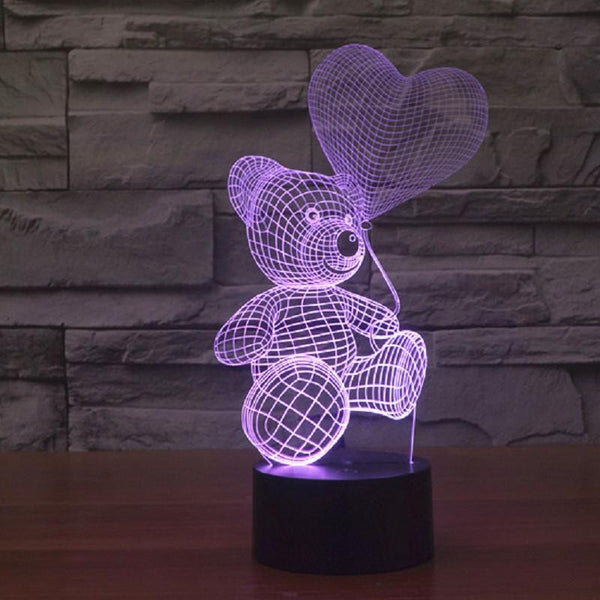 Cute Teddy Bear - 3D LED Lamp - Lamp