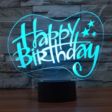 Happy Birthday - 3D LED Lamp - Lamp