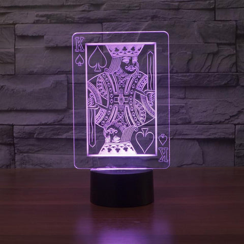 Poker Playing Card - 3D LED Lamp - Lamp