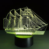 Sailing Boat - 3D LED Lamp with Remote - Lamp