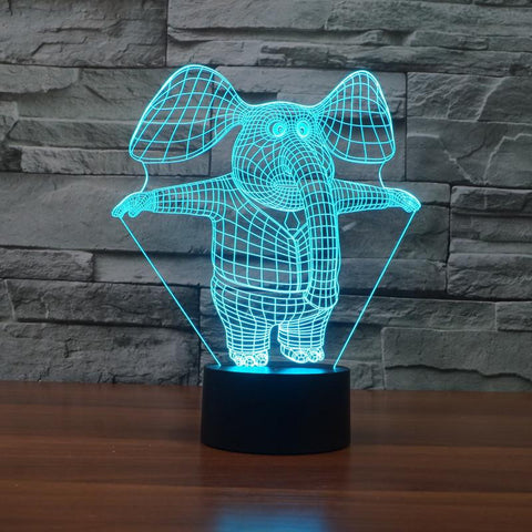 Cartoon Elephant - 3D LED Lamp - Lamp