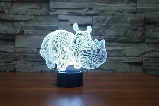 Little Rhinoceros - 3D LED Lamp - Lamp