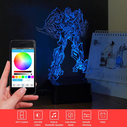 Transformers Bumblebee - PREMIUM RANGE, BLUETOOTH APP TO CONTROL AND PLAY MUSIC - 3D LED LAMP - Lamp