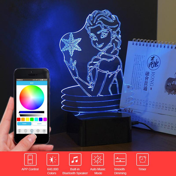 Frozen Elsa/Anna - PREMIUM RANGE, BLUETOOTH APP TO CONTROL AND PLAY MUSIC - 3D LED LAMP - Lamp