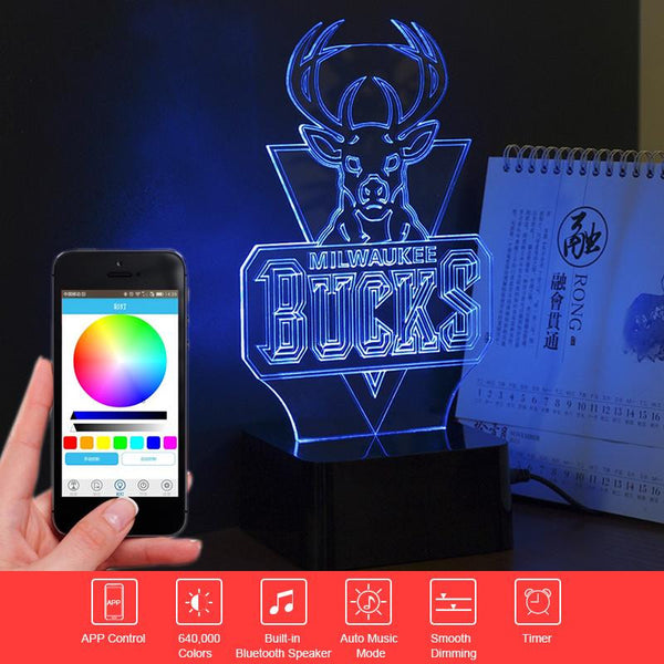 NBA Bucks -PREMIUM RANGE, BLUETOOTH APP TO CONTROL AND PLAY MUSIC - 3D LED LAMP - Lamp