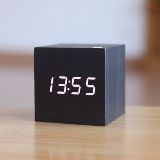 Wooden Cube LED Alarm Clock - Lamp