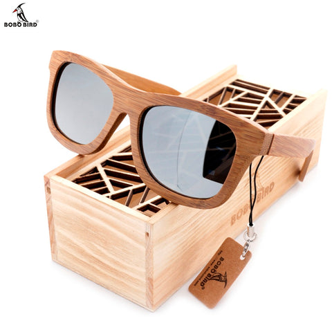 BOBO BIRD 100% Natural Bamboo Wooden Sunglasses Handmade Polarized Mirror Coating Lenses Eyewear With Gift Box - Lamp