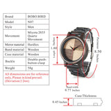 Handmade Unique Wood Quartz Men Watch With Ebony Wood band Lightweight With Gift Box - Lamp