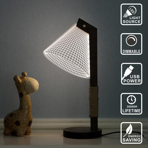 Wooden Base Designer Lamp - 3D LED Lamp - Lamp