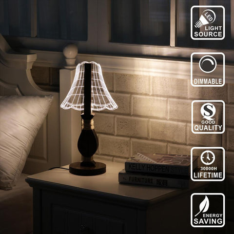 Stylish Wooden Base Lamp - 3D LED Lamp - Lamp