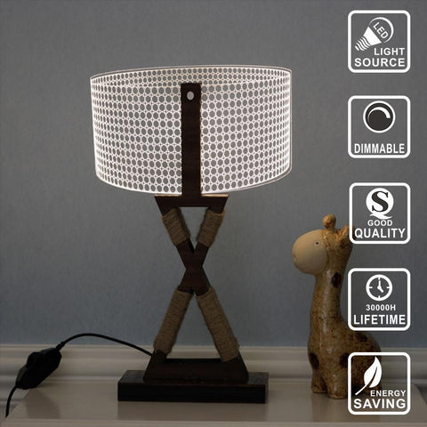 Led Night Light Table Lamp Wooden Base - 3D LED Lamp - Lamp