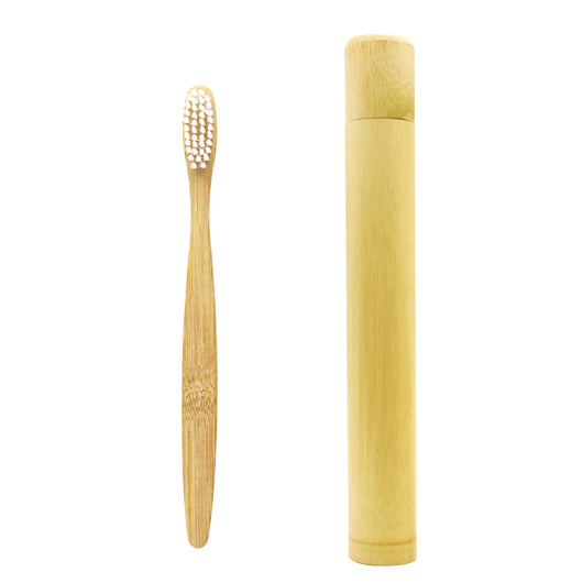 Bamboo Charcoal Toothbrush Natural Fiber Ultra Soft With Bamboo Storage Tube - Lamp
