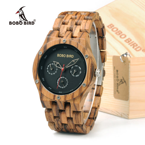 Handmade Men's Zebra Wooden Watch With Gift Box - Lamp