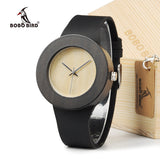 Retro Round Women's Wooden Watches With Leather band - Lamp
