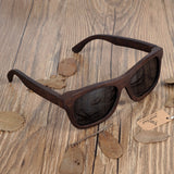 100% Natural Ebony Wooden Sunglasses Men's Luxury Brand Design Square Polarized Sun Glasses With Wooden Gift Box - Lamp