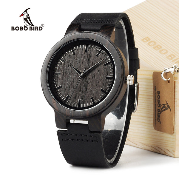 BOBO BIRD Men's Watch Retro Wood Watch with Leather Band - Lamp