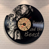Beauty and the Beast - Retro Vinyl Wall Clock - Lamp
