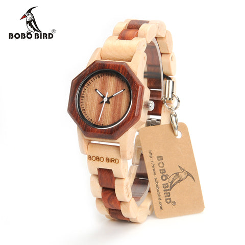 BOBO BIRD Women Wooden Watch Luxury Quartz Movement Lightweight Band With Gift Box - Lamp