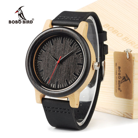Ebony Wooden Analog Wristwatch With Brown Cowhide Leather Band - Lamp