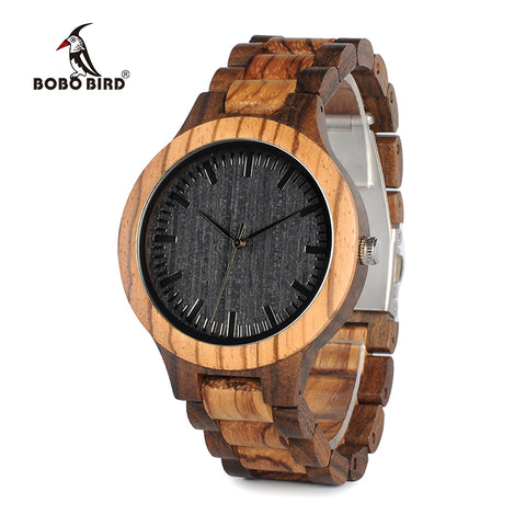 BOBO BIRD Round Vintag Men's Watch With Ebony Bamboo Wood Face With Zebra Bamboo Wood Band - Lamp