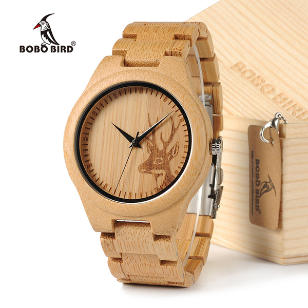 BOBOBIRD Natural Bamboo Wood Watch With Deer Head - Lamp