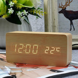 Wooden LED Alarm Clock With - Date+Time+Celsius/Fahrenheit Temperature - Lamp