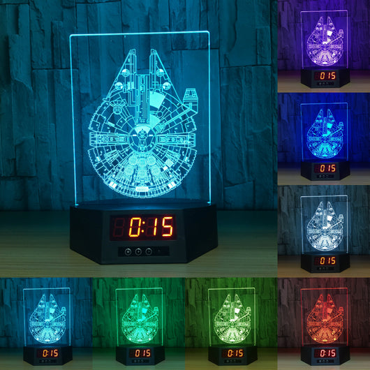 Millennium Falcon 3D LED Lamp - Night Light - Digital Clock - Lamp