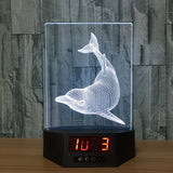 Dolphin 3D LED Lamp - Night Light - Digital Clock - Lamp