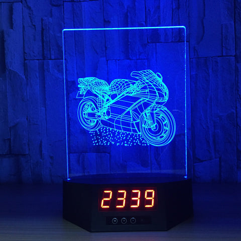 Sports Motorcycle 3D LED Lamp - Night Light - Digital Clock