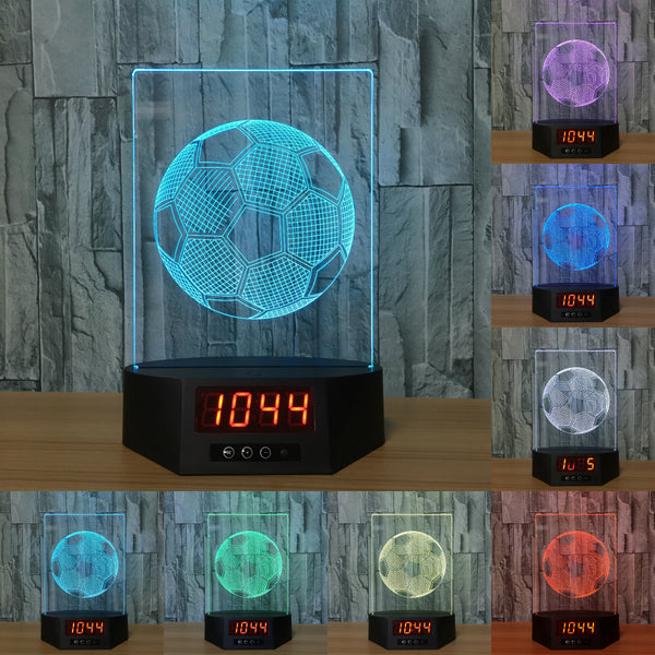 Soccer Ball 3D LED Lamp - Night Light - Digital Clock - Lamp
