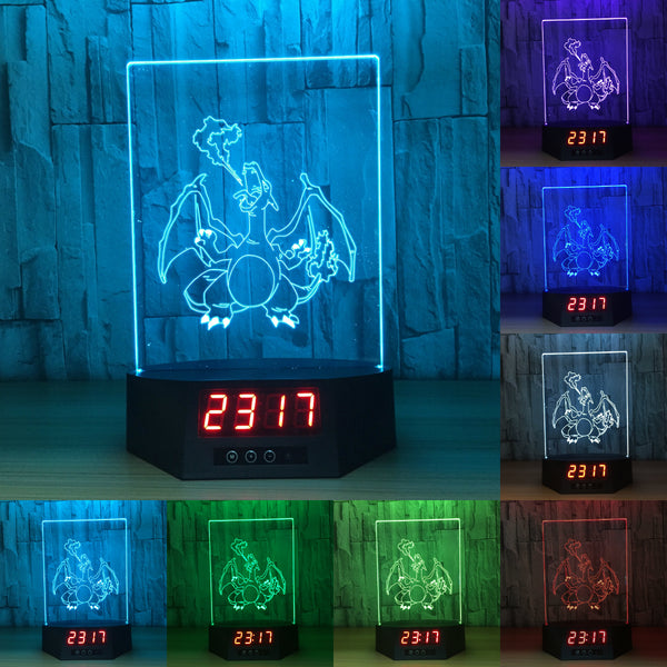 Pokemon Charizard 3D LED Lamp - Night Light - Digital Clock - Lamp
