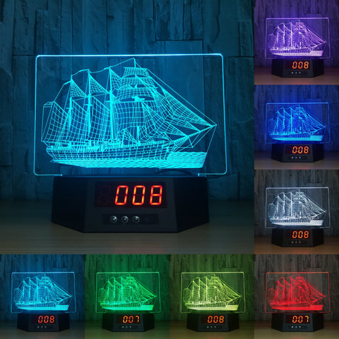 sailing boat 3D LED Lamp - Night Light - Digital Clock - Lamp
