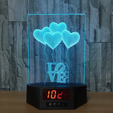I LOVE YOU 3D LED Lamp -  Night Light and Digital Clock - Lamp