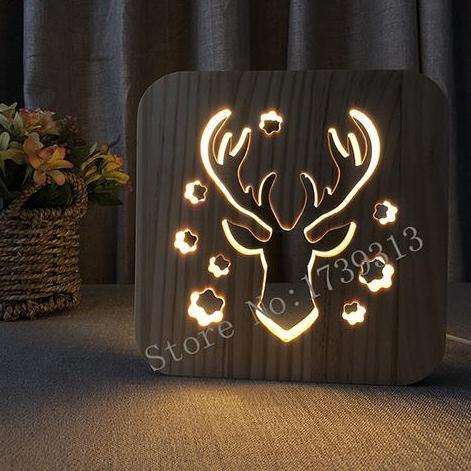 Deer Wooden LED Lamp - Lamp