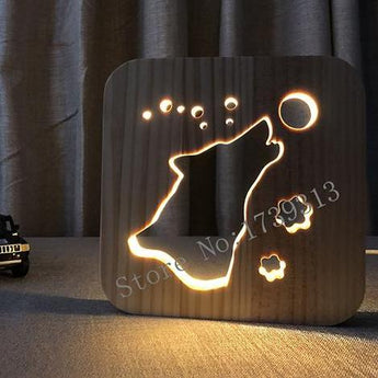 Wolf Wooden LED Lamp - Kids Bedroom - Lamp