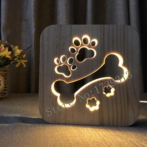 Dog Paws and Bone Wooden LED Lamp - Kids Bedroom - Lamp