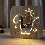 Dinosaur Wooden LED Lamp For Kids Bedroom - Lamp
