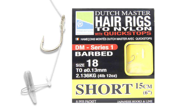 PRESTON HAIR RIGS TO NYLON WITH QUICKSTOPS