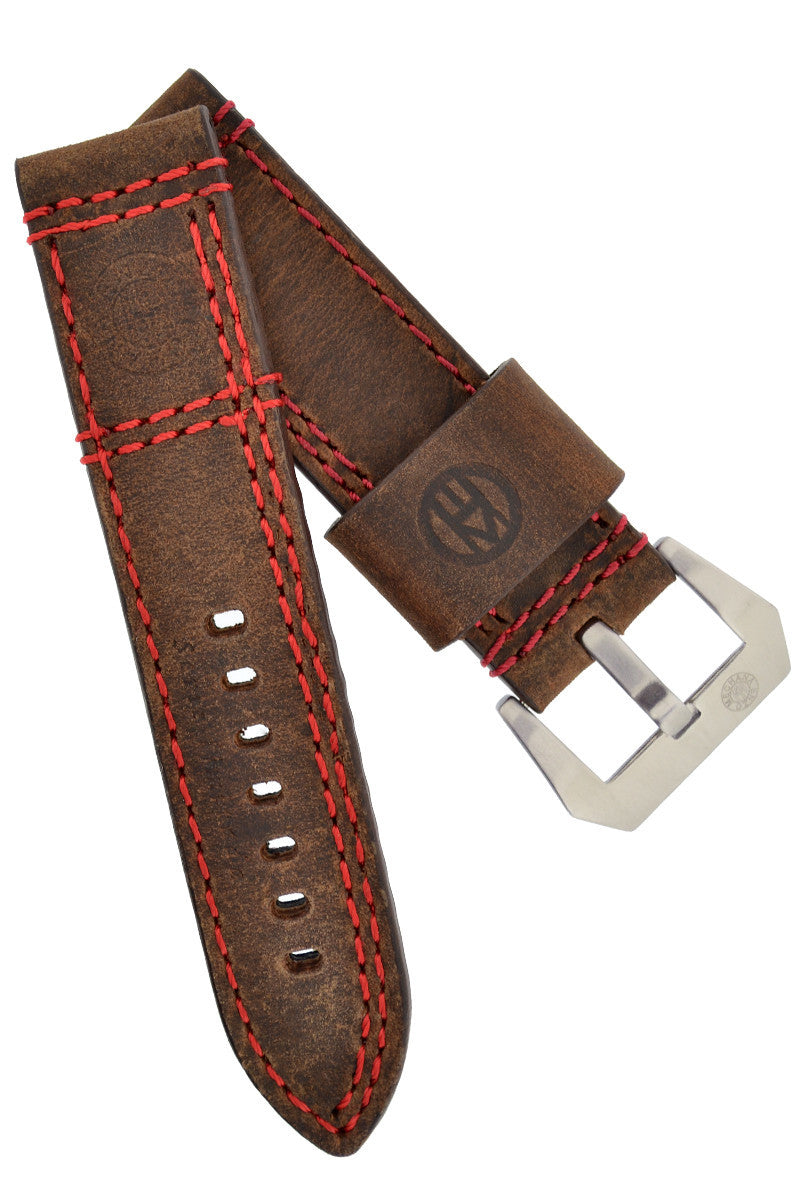 Enzo Mechana Double Stitch Leather Watch Strap in DISTRESSED BROWN