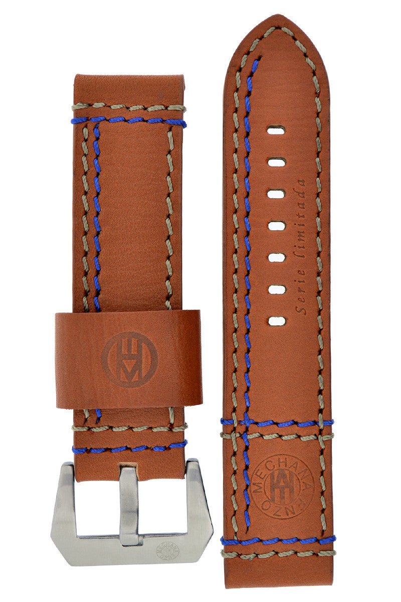 Enzo Mechana Double Stitch Leather Watch Strap in MID BROWN