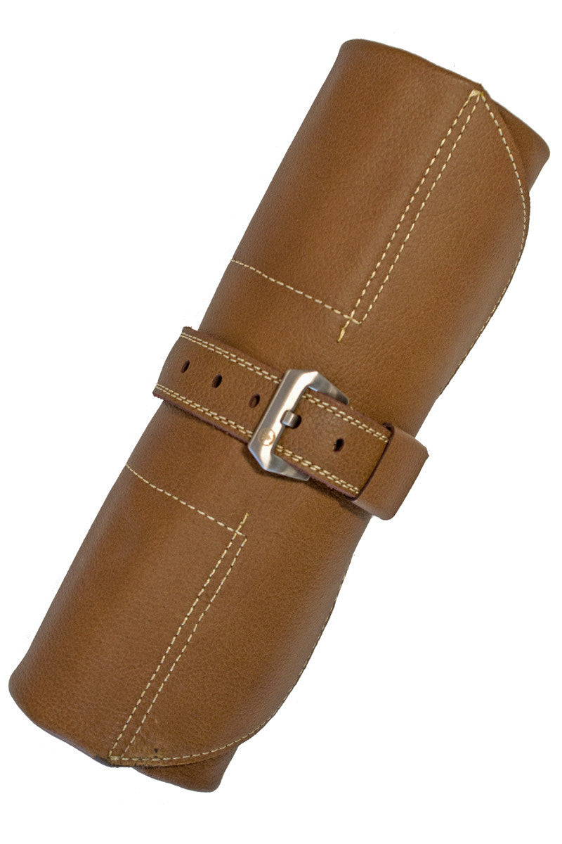 ENZO MECHANA Calf Leather Watch Roll in GOLD BROWN
