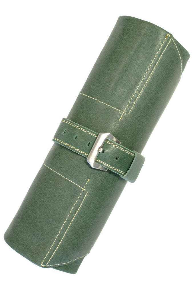 ENZO MECHANA Calf Leather Watch Roll in GREEN