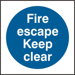 Fire Escape Keep Clear 100mm Self Adhesive Vinyl Safety Sign