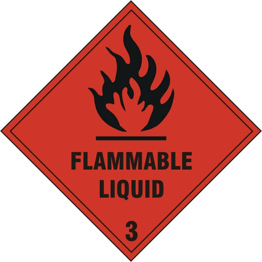 Flammable Liquid 3 Diamond Self Adhesive Vinyl Hazard Warning Sign
