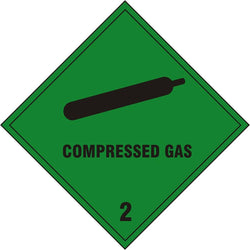 Compressed Gas 2 Diamond Self Adhesive Vinyl Hazard Warning Sign