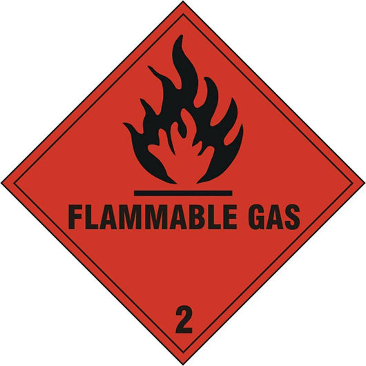 Flammable Gas 2 Diamond Self Adhesive Vinyl Hazard Warning Sign