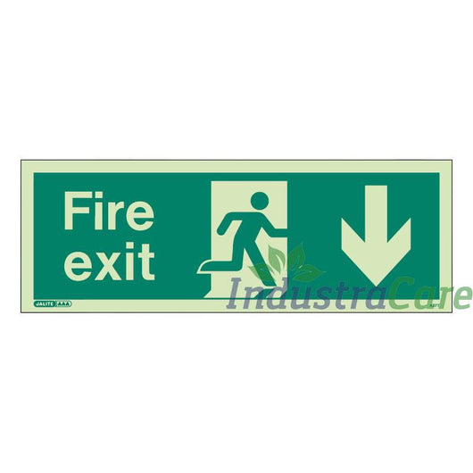 Jalite Fire Exit Arrow Down Photoluminescent Rigid PVC Safety Sign