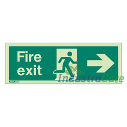 Jalite Fire Exit Arrow Right Photoluminescent Rigid PVC Safety Sign