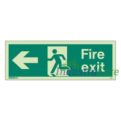 Jalite Fire Exit Arrow Left Photoluminescent Rigid PVC Safety Sign