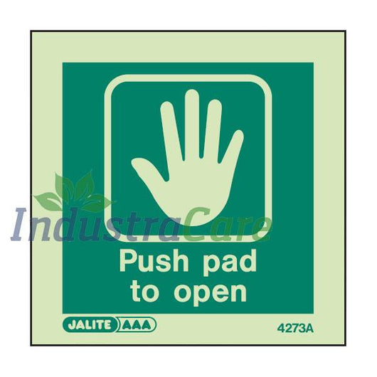 Jalite Push Pad To Open Photoluminescent Rigid PVC Safety Sign